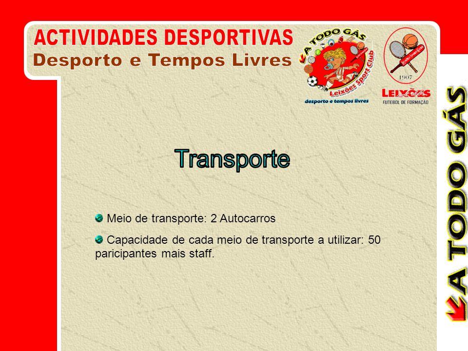 Meio de transporte: 2 Autocarros Capacidade de cada meio de transporte a utilizar: 50 paricipantes mais staff.