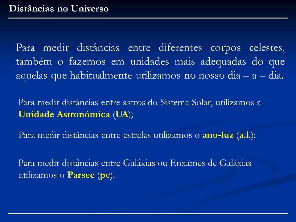 Distâncias no Universo Para medir distâncias entre Galáxias ou Enxames de Galáxias utilizamos o Parsec (pc). Para medir distâncias entre diferentes co