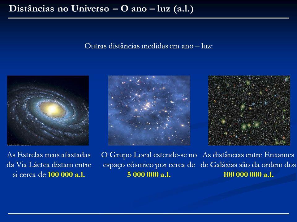 Distâncias no Universo – O ano – luz (a.l.) Outras distâncias medidas em ano – luz: As Estrelas mais afastadas da Via Láctea distam entre si cerca de