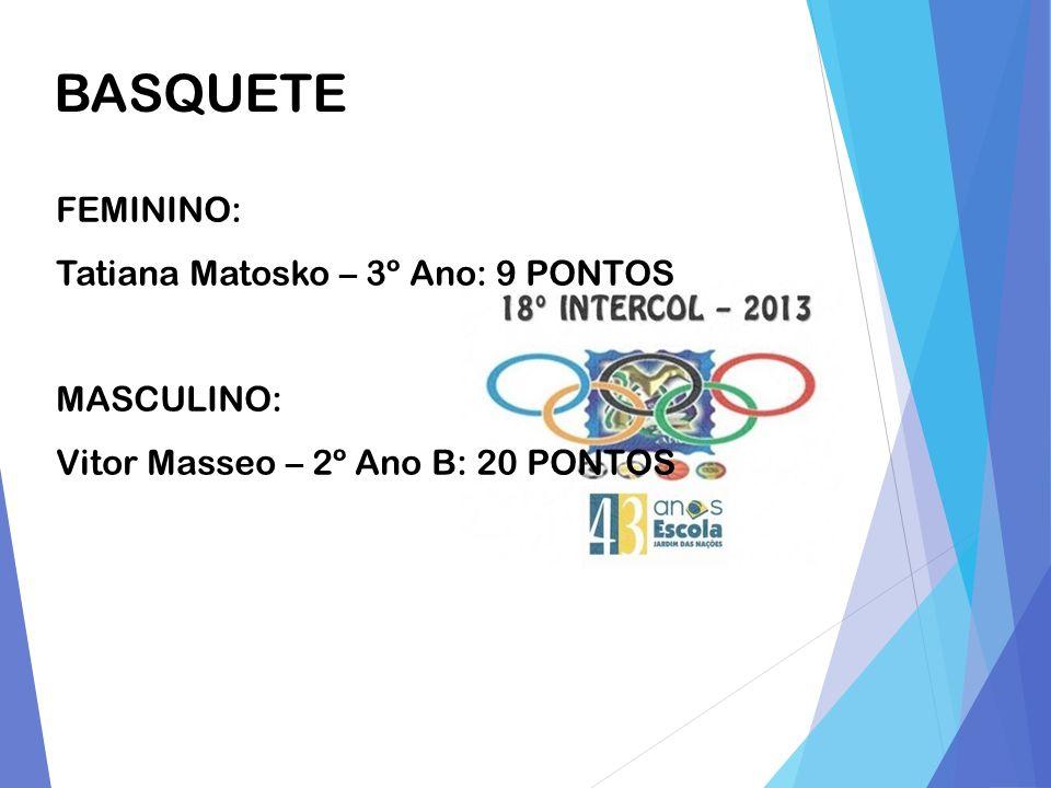BASQUETE FEMININO: Tatiana Matosko – 3º Ano: 9 PONTOS MASCULINO: Vitor Masseo – 2º Ano B: 20 PONTOS