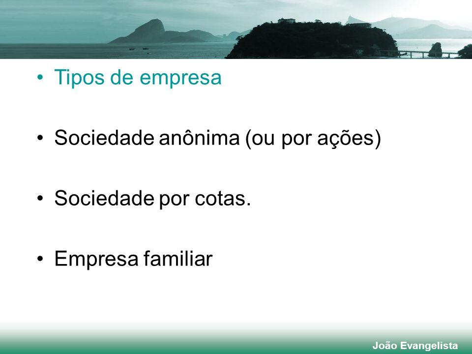 Tipos de empresa Sociedade anônima (ou por ações) Sociedade por cotas. Empresa familiar João Evangelista