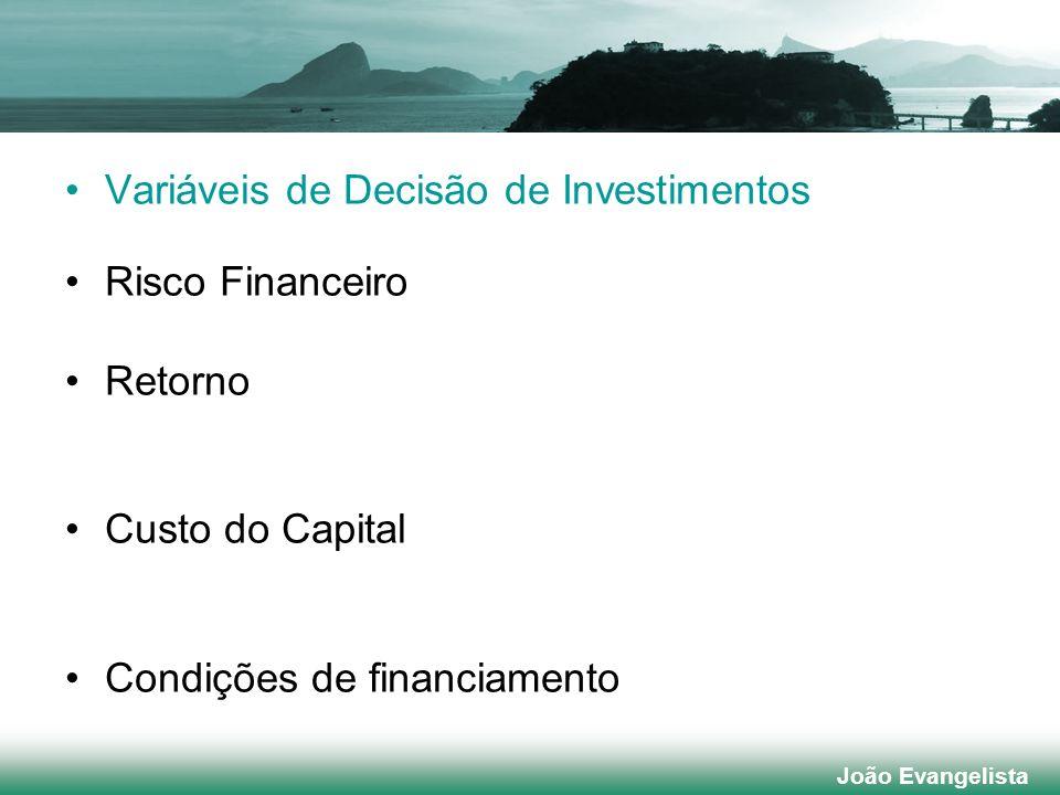 Variáveis de Decisão de Investimentos Risco Financeiro Retorno Custo do Capital Condições de financiamento.