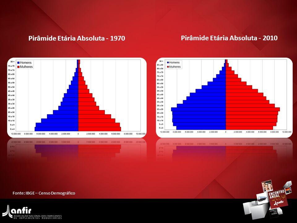 Fonte: IBGE – Censo Demográfico Pirâmide Etária Absoluta - 1970 Pirâmide Etária Absoluta - 2010