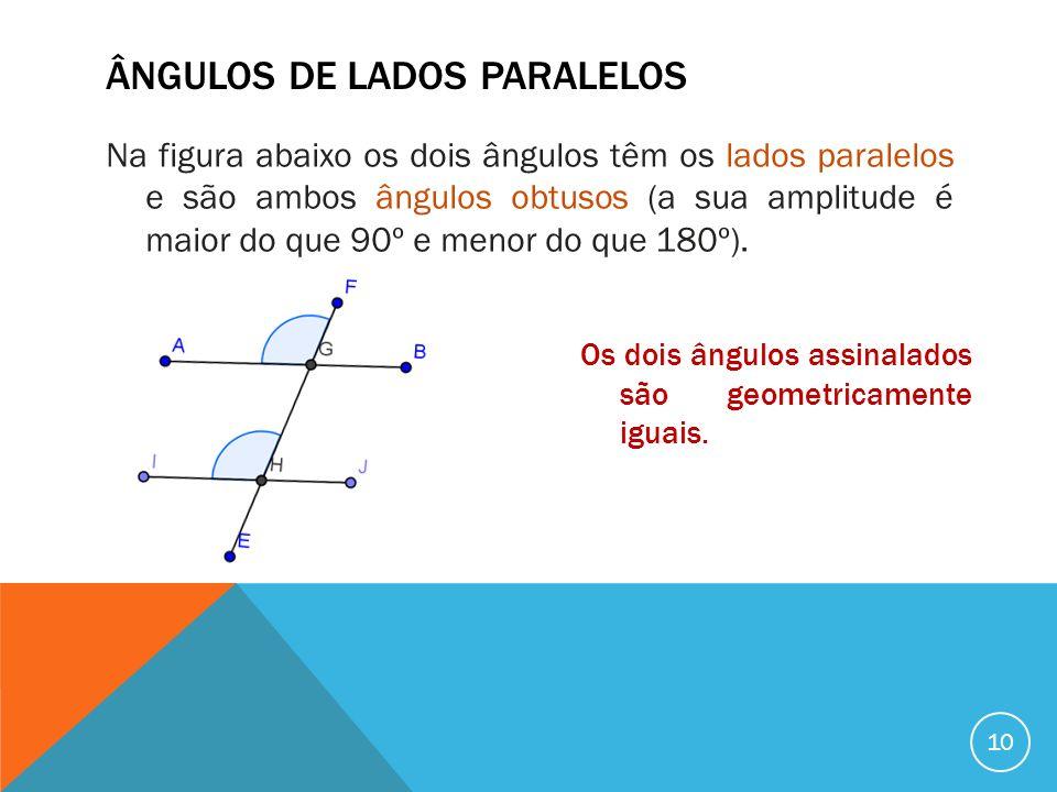 ÂNGULOS DE LADOS PARALELOS Na figura abaixo os dois ângulos têm os lados paralelos e são ambos ângulos obtusos (a sua amplitude é maior do que 90º e m