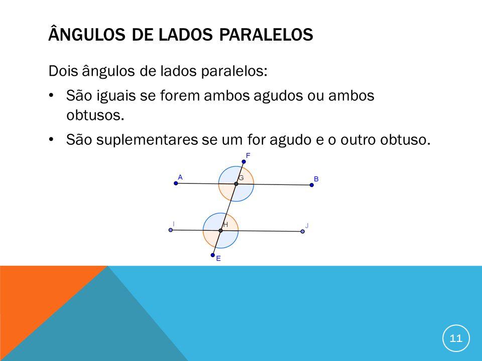 ÂNGULOS DE LADOS PARALELOS Dois ângulos de lados paralelos: São iguais se forem ambos agudos ou ambos obtusos. São suplementares se um for agudo e o o