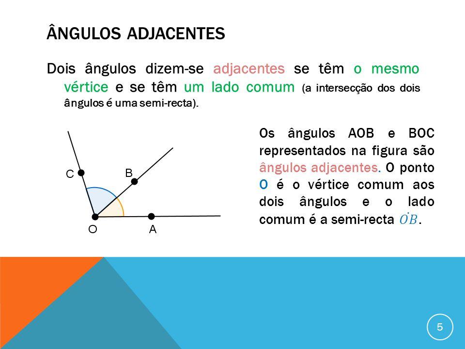 ÂNGULOS COMPLEMENTARES Dois ângulos dizem-se complementares se a soma das suas amplitudes for igual à amplitude de um ângulo recto (se a soma das amplitudes dos dois ângulos for igual a 90º).