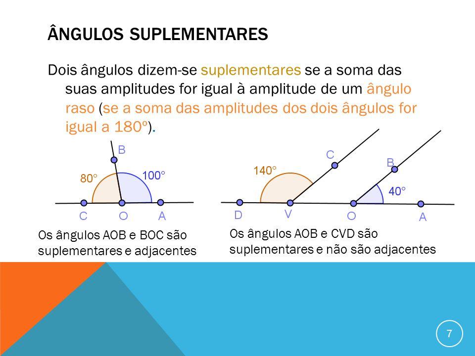 ÂNGULOS SUPLEMENTARES Dois ângulos dizem-se suplementares se a soma das suas amplitudes for igual à amplitude de um ângulo raso (se a soma das amplitu