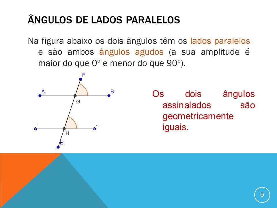 ÂNGULOS DE LADOS PARALELOS Na figura abaixo os dois ângulos têm os lados paralelos e são ambos ângulos obtusos (a sua amplitude é maior do que 90º e menor do que 180º).