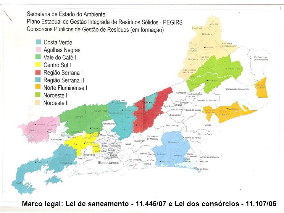 Marco legal: Lei de saneamento - 11.445/07 e Lei dos consórcios - 11.107/05