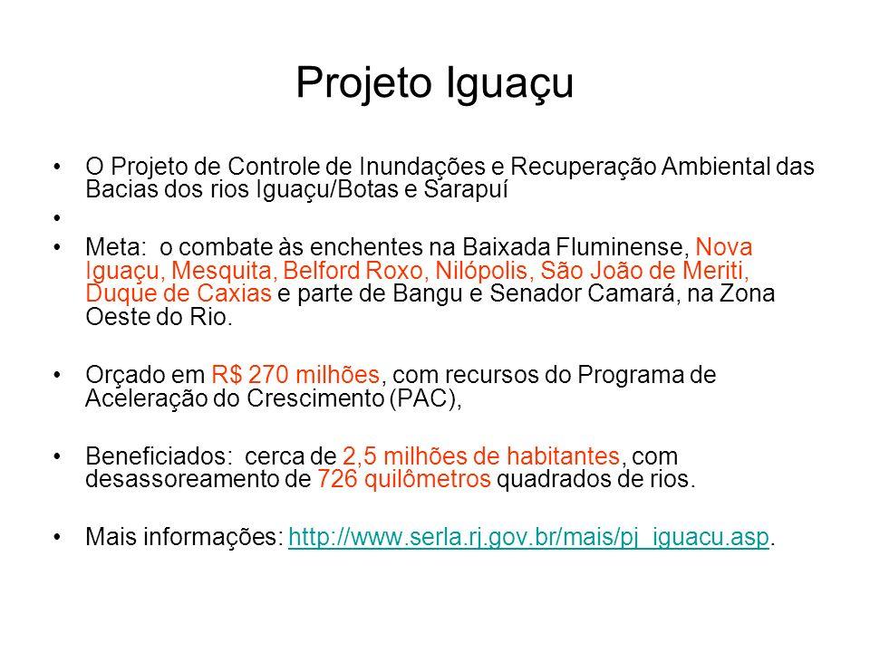 Projeto Iguaçu O Projeto de Controle de Inundações e Recuperação Ambiental das Bacias dos rios Iguaçu/Botas e Sarapuí Meta: o combate às enchentes na