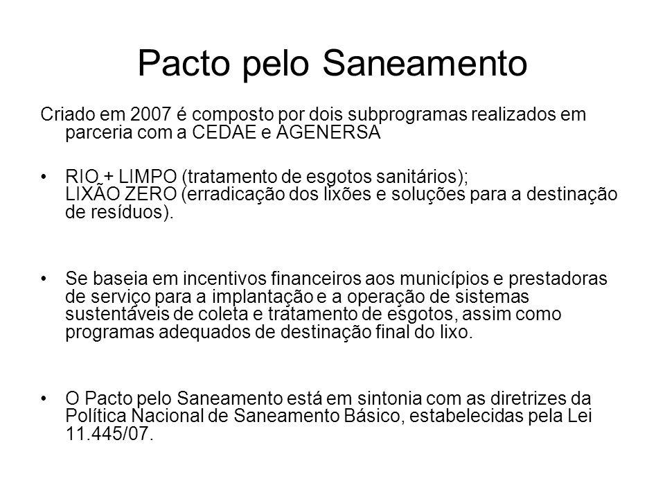 Pacto pelo Saneamento Criado em 2007 é composto por dois subprogramas realizados em parceria com a CEDAE e AGENERSA RIO + LIMPO (tratamento de esgotos sanitários); LIXÃO ZERO (erradicação dos lixões e soluções para a destinação de resíduos).
