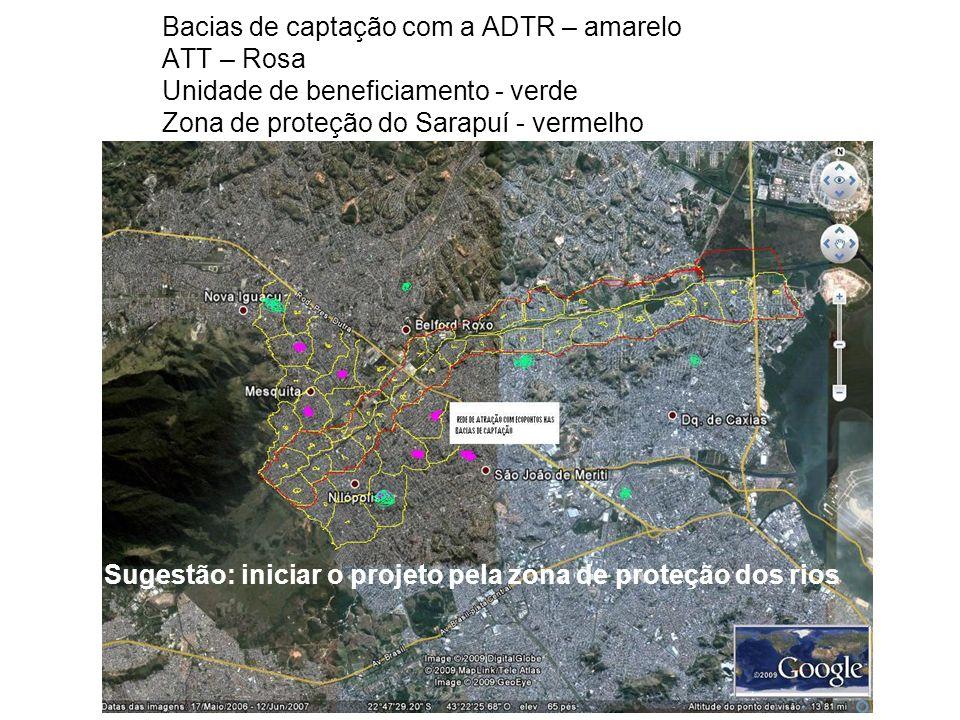 Bacias de captação com a ADTR – amarelo ATT – Rosa Unidade de beneficiamento - verde Zona de proteção do Sarapuí - vermelho Sugestão: iniciar o projeto pela zona de proteção dos rios