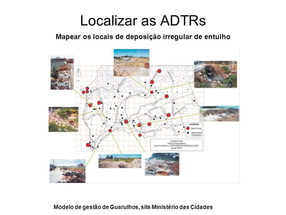 Localizar as ADTRs Mapear os locais de deposição irregular de entulho Modelo de gestão de Guarulhos, site Ministério das Cidades