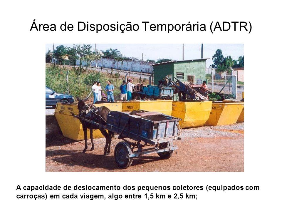 Área de Disposição Temporária (ADTR) A capacidade de deslocamento dos pequenos coletores (equipados com carroças) em cada viagem, algo entre 1,5 km e 2,5 km;