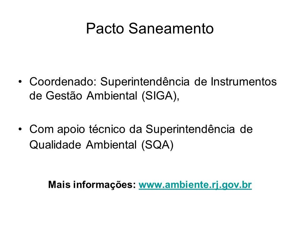 Pacto Saneamento Coordenado: Superintendência de Instrumentos de Gestão Ambiental (SIGA), Com apoio técnico da Superintendência de Qualidade Ambiental (SQA) Mais informações: www.ambiente.rj.gov.brwww.ambiente.rj.gov.br