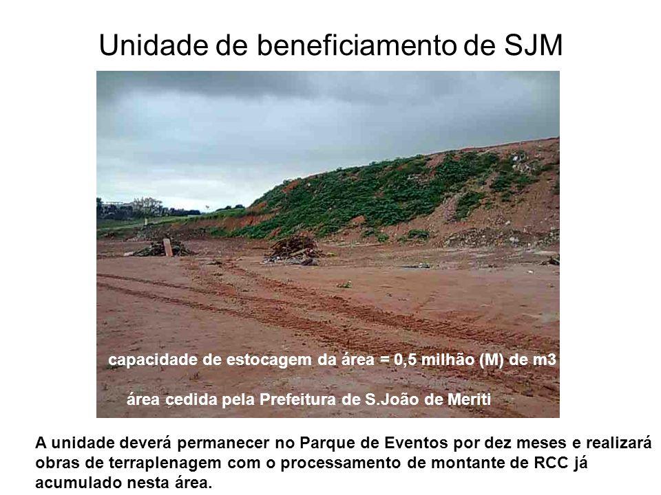 Unidade de beneficiamento de SJM capacidade de estocagem da área = 0,5 milhão (M) de m3 área cedida pela Prefeitura de S.João de Meriti A unidade deve