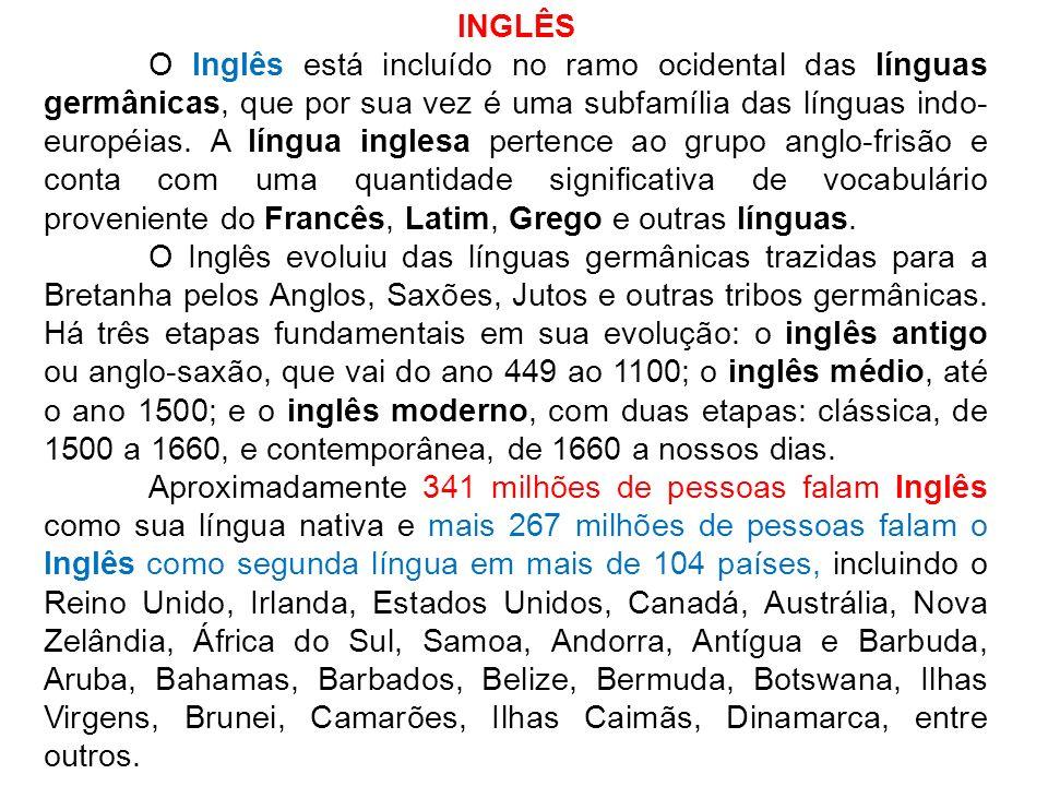 INGLÊS O Inglês está incluído no ramo ocidental das línguas germânicas, que por sua vez é uma subfamília das línguas indo- européias. A língua inglesa