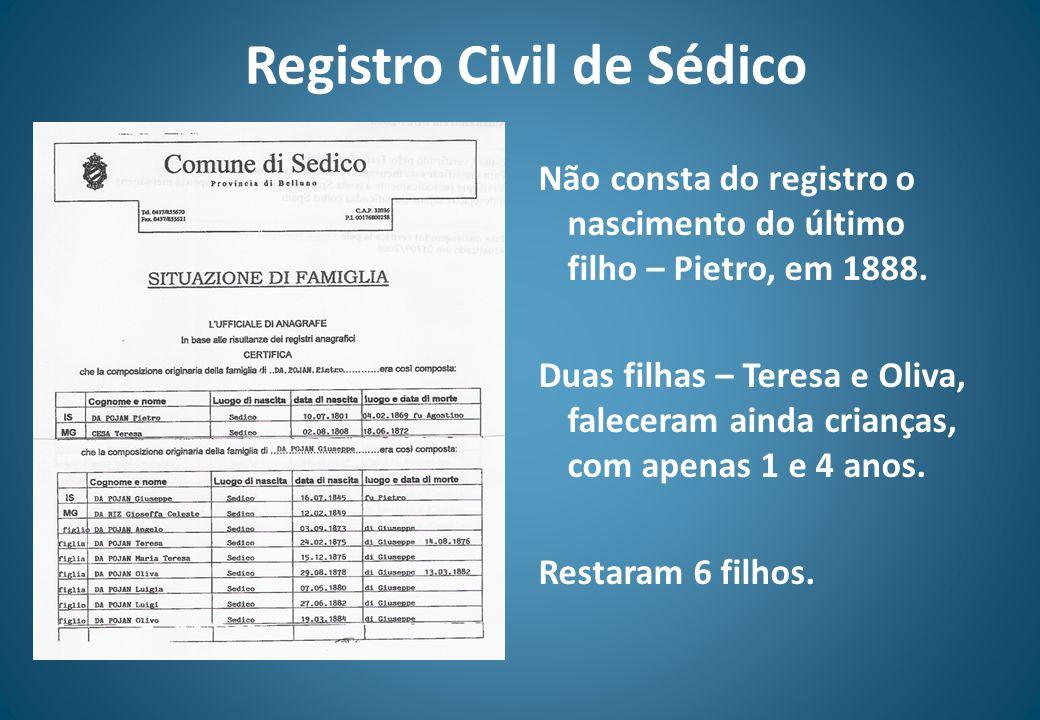 Registro Civil de Sédico Não consta do registro o nascimento do último filho – Pietro, em 1888. Duas filhas – Teresa e Oliva, faleceram ainda crianças