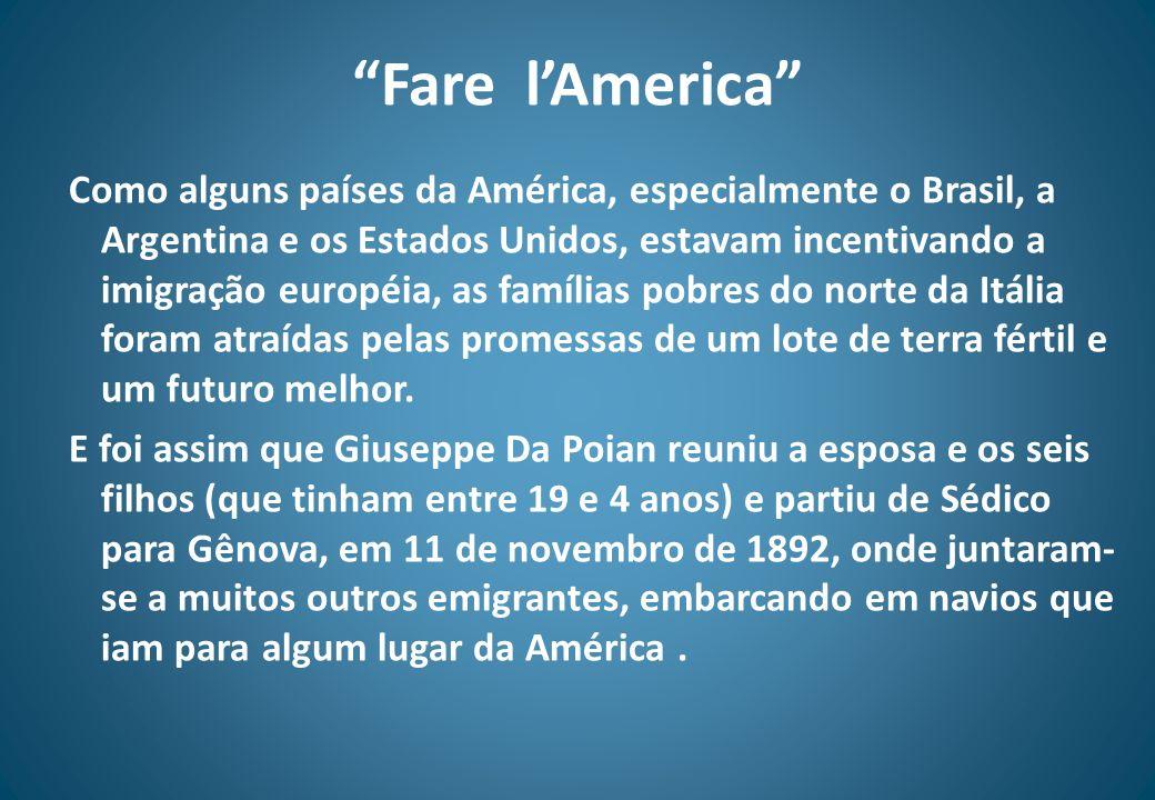 Fare lAmerica Como alguns países da América, especialmente o Brasil, a Argentina e os Estados Unidos, estavam incentivando a imigração européia, as fa