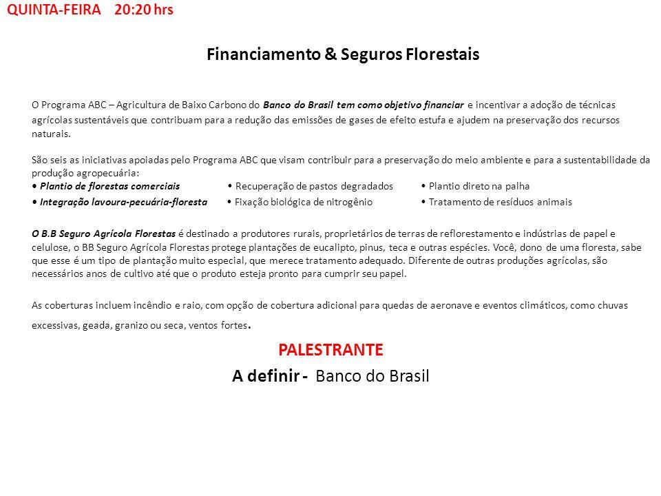 Financiamento & Seguros Florestais O Programa ABC – Agricultura de Baixo Carbono do Banco do Brasil tem como objetivo financiar e incentivar a adoção