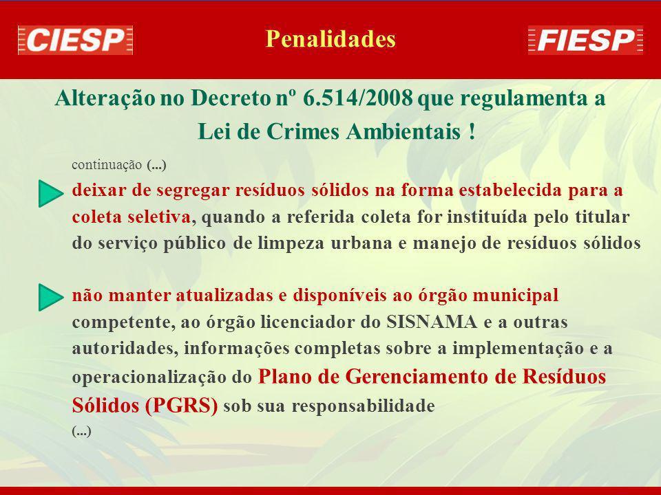 Alteração no Decreto nº 6.514/2008 que regulamenta a Lei de Crimes Ambientais ! lançar resíduos sólidos ou rejeitos em praias, no mar ou quaisquer rec