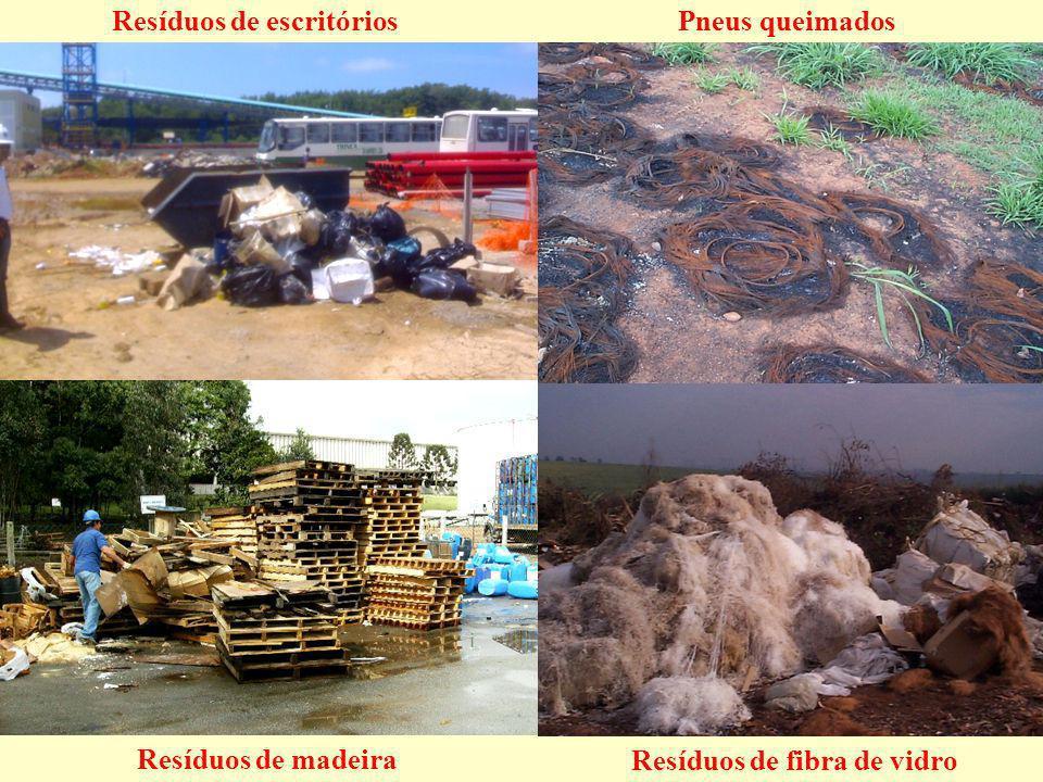 Resíduos de escritórios Resíduos de madeira Resíduos de fibra de vidro Pneus queimados