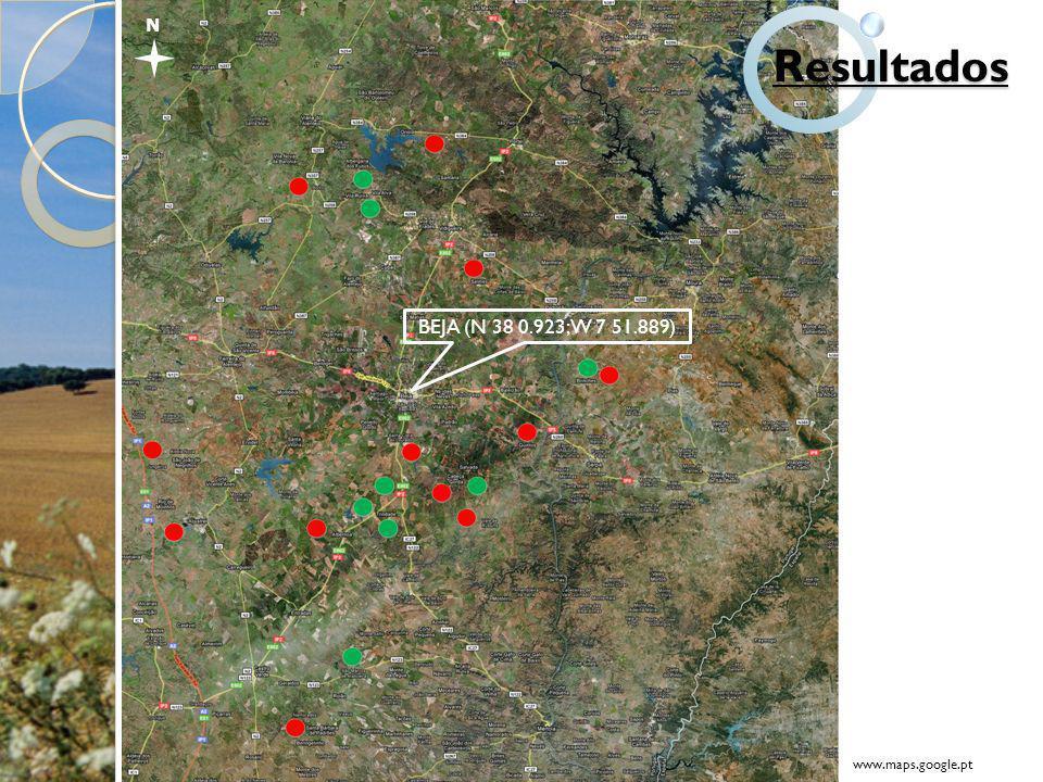 N BEJA (N 38 0.923; W 7 51.889) www.maps.google.pt Resultados