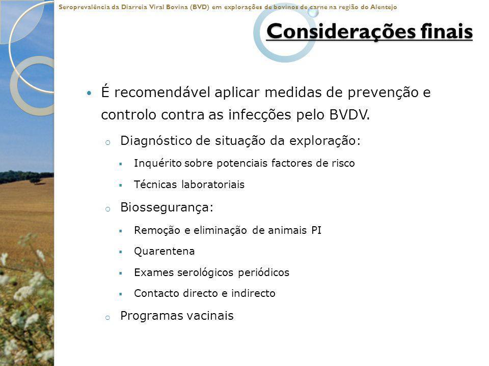 Considerações finais É recomendável aplicar medidas de prevenção e controlo contra as infecções pelo BVDV. o Diagnóstico de situação da exploração: In