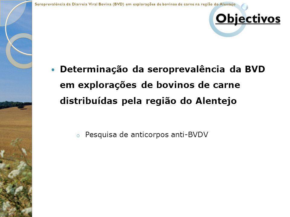 Objectivos Determinação da seroprevalência da BVD em explorações de bovinos de carne distribuídas pela região do Alentejo o Pesquisa de anticorpos ant