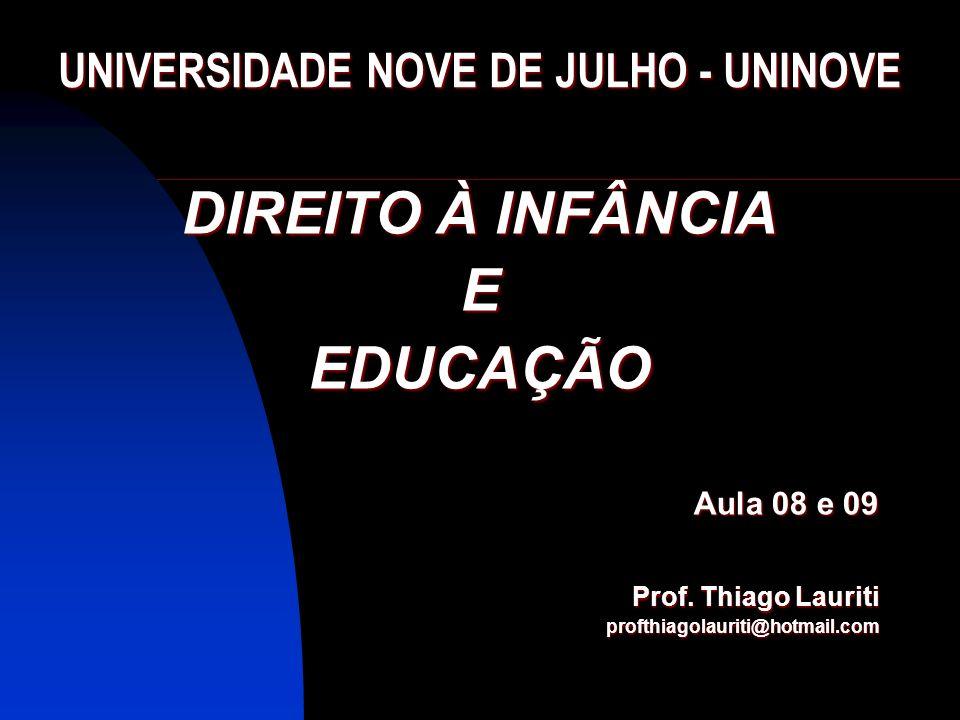 DIREITO À INFÂNCIA EEDUCAÇÃO Aula 08 e 09 Prof. Thiago Lauriti profthiagolauriti@hotmail.com UNIVERSIDADE NOVE DE JULHO - UNINOVE