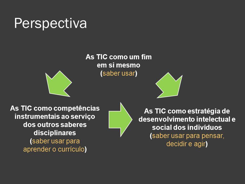 As TIC como estratégia de desenvolvimento intelectual e social dos indivíduos (saber usar para pensar, decidir e agir) As TIC como competências instru