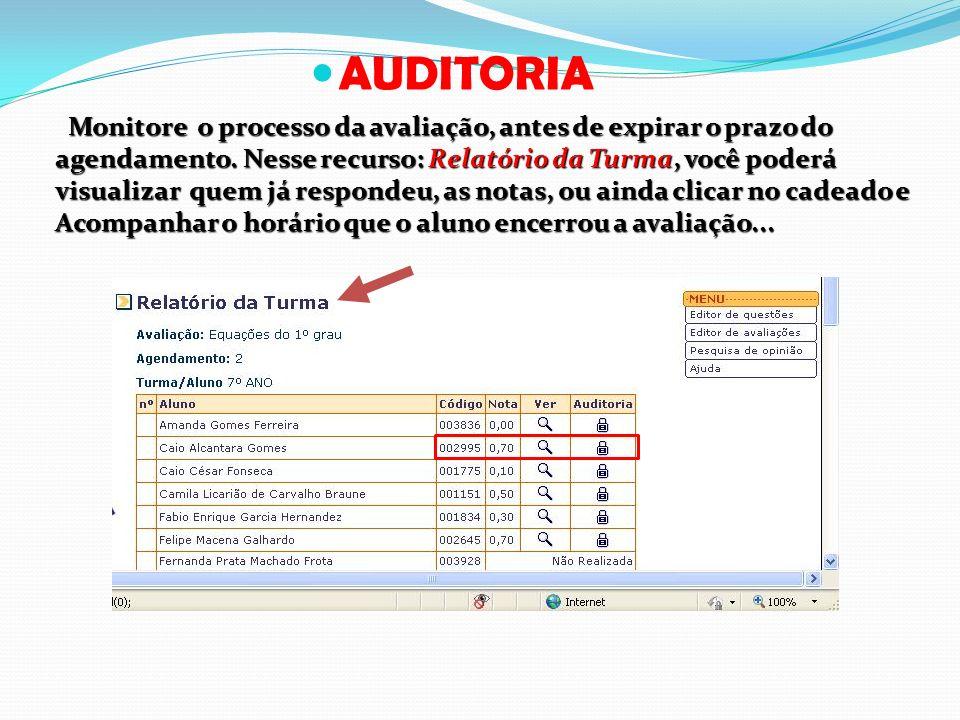 AUDITORIA Monitore o processo da avaliação, antes de expirar o prazo do agendamento. Nesse recurso: Relatório da Turma, você poderá visualizar quem já