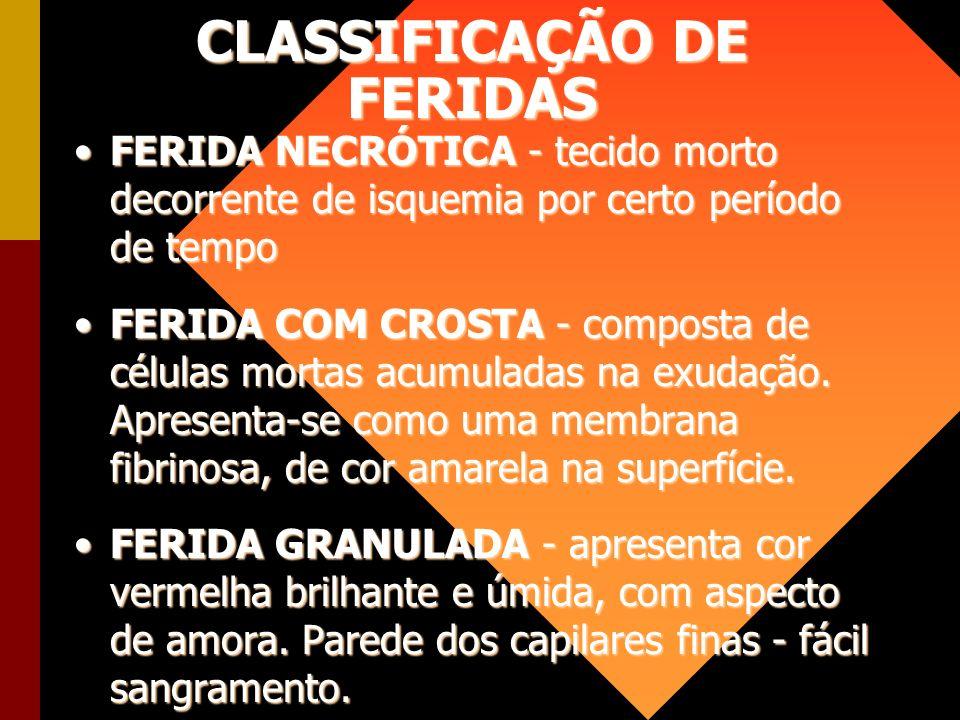 CLASSIFICAÇÃO DE FERIDAS FERIDA NECRÓTICA - tecido morto decorrente de isquemia por certo período de tempoFERIDA NECRÓTICA - tecido morto decorrente d
