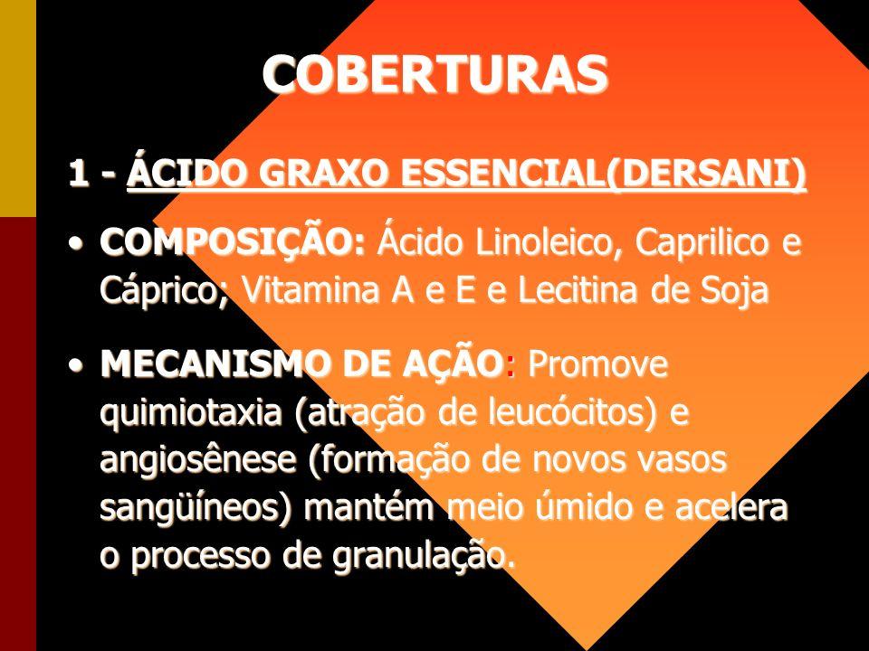 COBERTURAS 1 - ÁCIDO GRAXO ESSENCIAL(DERSANI) COMPOSIÇÃO: Ácido Linoleico, Caprilico e Cáprico; Vitamina A e E e Lecitina de SojaCOMPOSIÇÃO: Ácido Lin