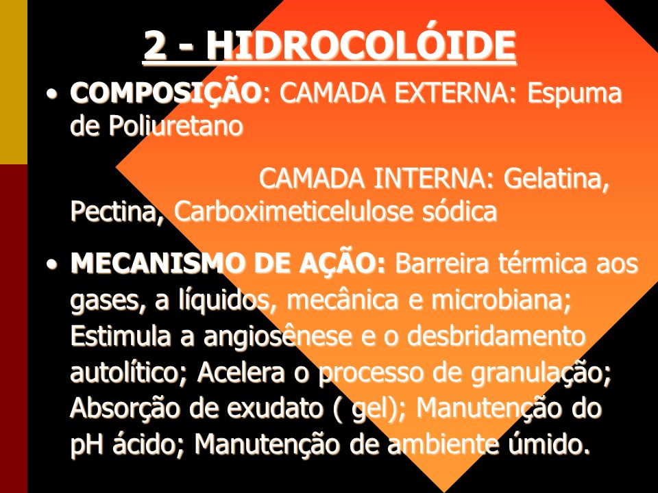 2 - HIDROCOLÓIDE COMPOSIÇÃO: CAMADA EXTERNA: Espuma de PoliuretanoCOMPOSIÇÃO: CAMADA EXTERNA: Espuma de Poliuretano CAMADA INTERNA: Gelatina, Pectina,