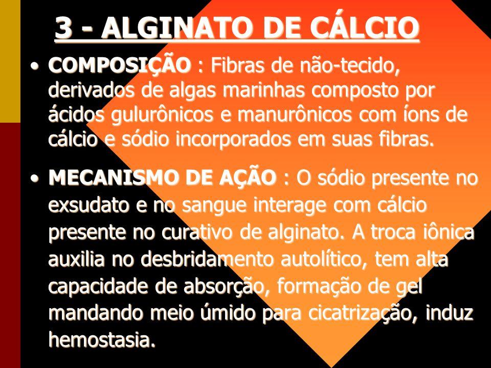 3 - ALGINATO DE CÁLCIO COMPOSIÇÃO : Fibras de não-tecido, derivados de algas marinhas composto por ácidos gulurônicos e manurônicos com íons de cálcio