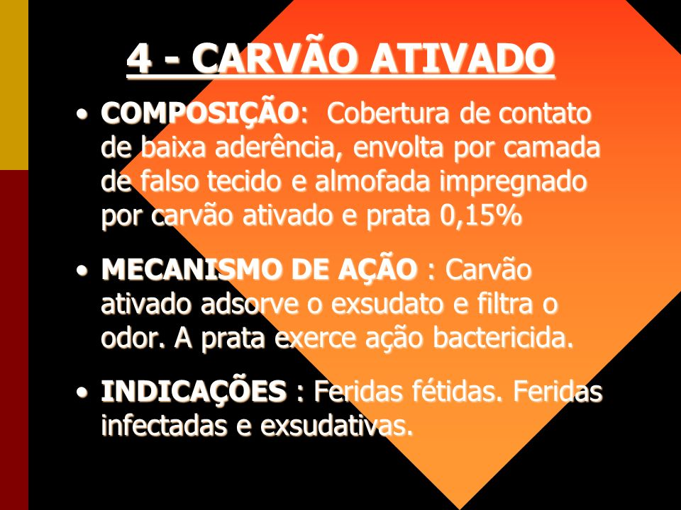 4 - CARVÃO ATIVADO COMPOSIÇÃO: Cobertura de contato de baixa aderência, envolta por camada de falso tecido e almofada impregnado por carvão ativado e