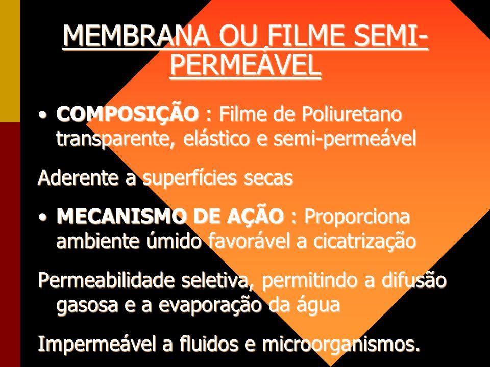 MEMBRANA OU FILME SEMI- PERMEÁVEL COMPOSIÇÃO : Filme de Poliuretano transparente, elástico e semi-permeávelCOMPOSIÇÃO : Filme de Poliuretano transpare