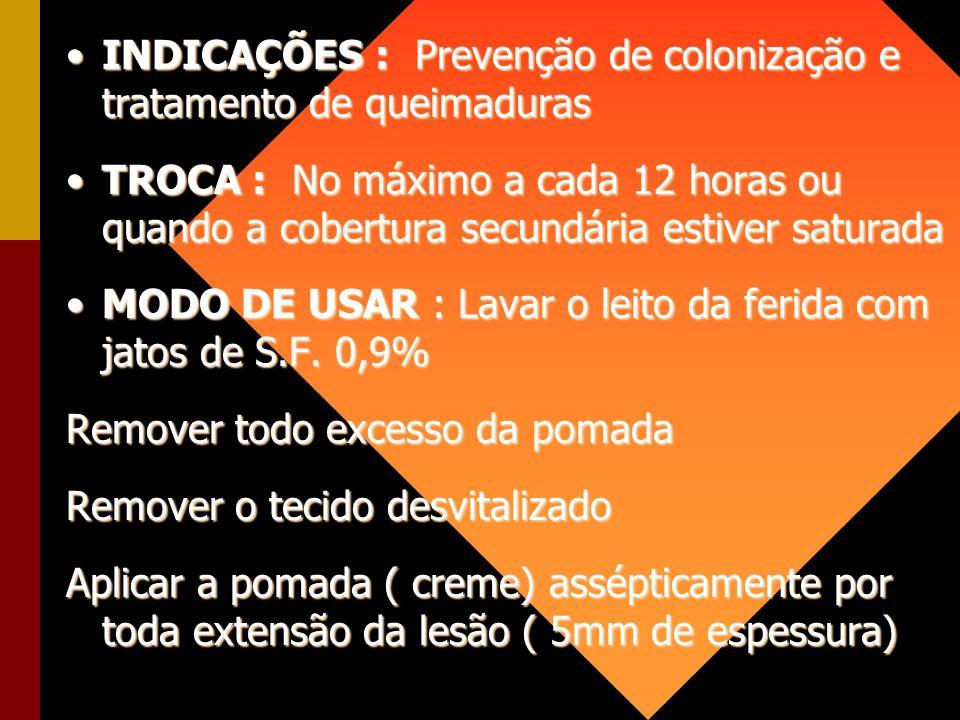 INDICAÇÕES : Prevenção de colonização e tratamento de queimadurasINDICAÇÕES : Prevenção de colonização e tratamento de queimaduras TROCA : No máximo a