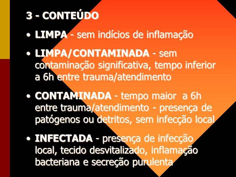 3 - CONTEÚDO LIMPA - sem indícios de inflamaçãoLIMPA - sem indícios de inflamação LIMPA/CONTAMINADA - sem contaminação significativa, tempo inferior a