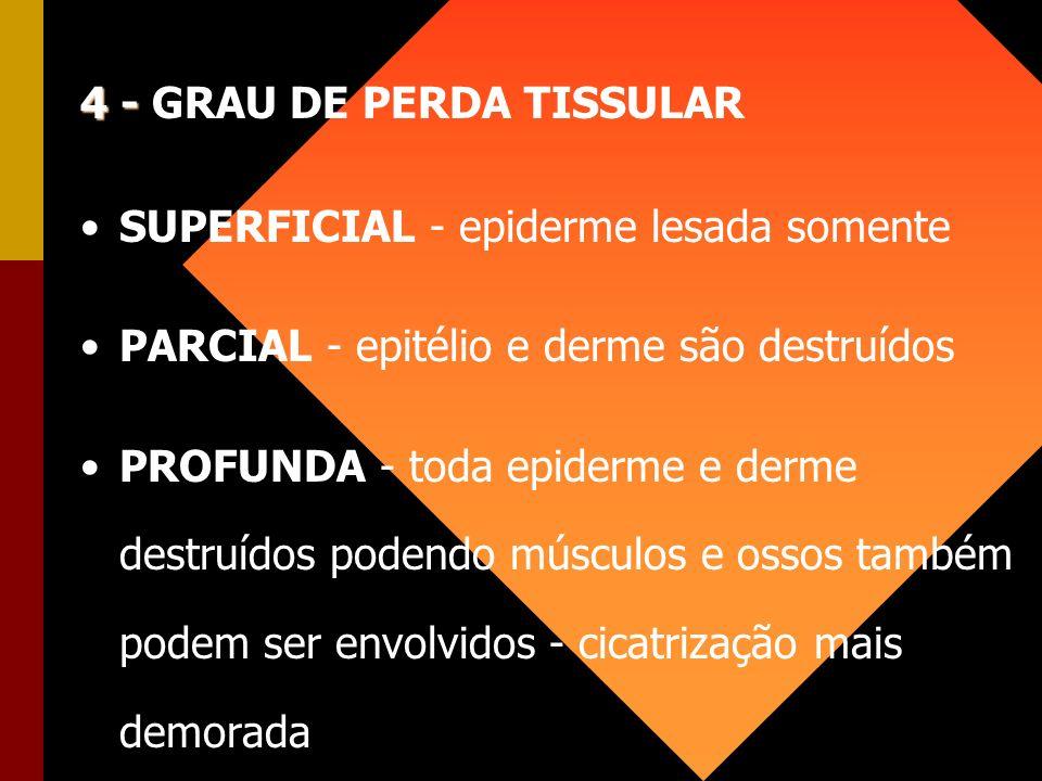 4 - 4 - GRAU DE PERDA TISSULAR SUPERFICIAL - epiderme lesada somente PARCIAL - epitélio e derme são destruídos PROFUNDA - toda epiderme e derme destru