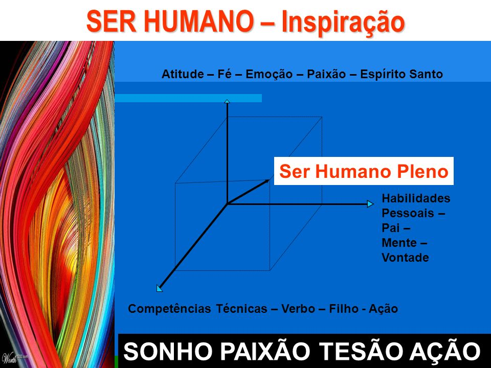 Habilidades Pessoais – Pai – Mente – Vontade Competências Técnicas – Verbo – Filho - Ação SER HUMANO – Inspiração Ser Humano Pleno Atitude – Fé – Emoção – Paixão – Espírito Santo SONHO PAIXÃO TESÃO AÇÃO