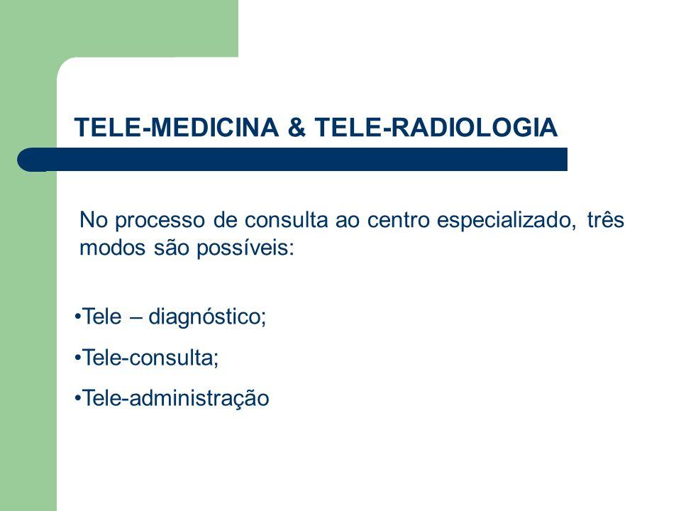 TELE-MEDICINA & TELE-RADIOLOGIA Tele – diagnóstico; Tele-consulta; Tele-administração No processo de consulta ao centro especializado, três modos são