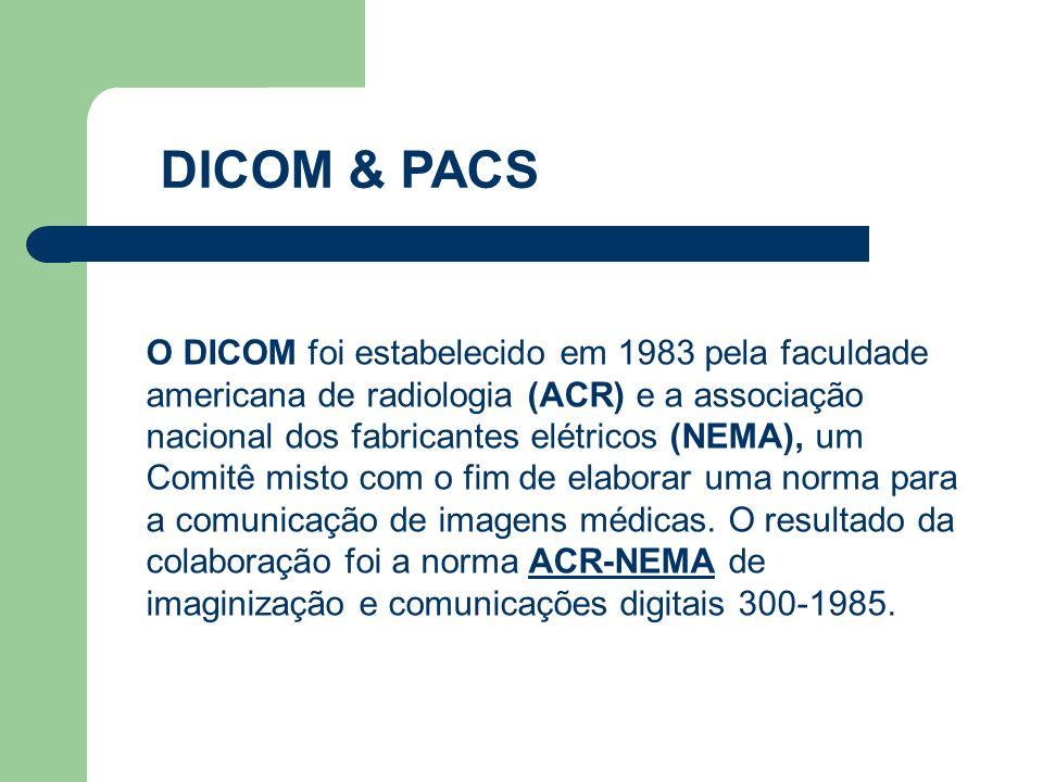 DICOM & PACS O DICOM foi estabelecido em 1983 pela faculdade americana de radiologia (ACR) e a associação nacional dos fabricantes elétricos (NEMA), u
