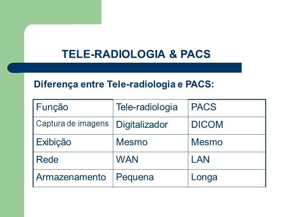 TELE-RADIOLOGIA & PACS Diferença entre Tele-radiologia e PACS: FunçãoTele-radiologiaPACS Captura de imagens DigitalizadorDICOM ExibiçãoMesmo RedeWANLA