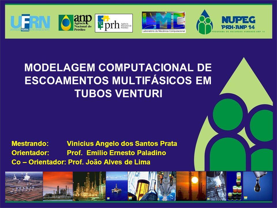 MODELAGEM COMPUTACIONAL DE ESCOAMENTOS MULTIFÁSICOS EM TUBOS VENTURI Mestrando: Vinicius Angelo dos Santos Prata Orientador: Prof.