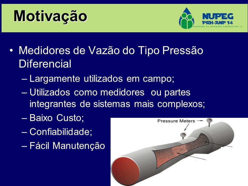 Motivação Medidores de Vazão do Tipo Pressão Diferencial –Largamente utilizados em campo; –Utilizados como medidores ou partes integrantes de sistemas