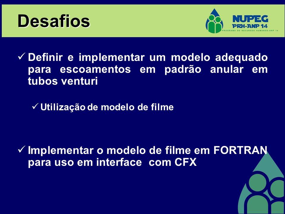 Desafios Definir e implementar um modelo adequado para escoamentos em padrão anular em tubos venturi Utilização de modelo de filme Implementar o modelo de filme em FORTRAN para uso em interface com CFX