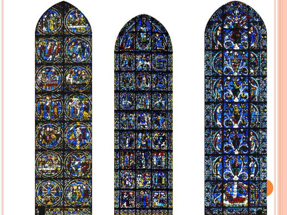 Arvore de Jessé Vitral Faz parte de um conjunto de três janelas ogivais Tema: Origem de Jesus, tirado do Antigo Testamento Na parte inferior esta a personagem bíblica Jessé, em sua cama.