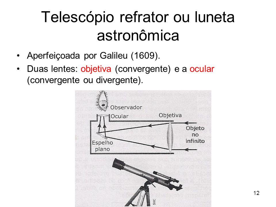 12 Telescópio refrator ou luneta astronômica Aperfeiçoada por Galileu (1609). Duas lentes: objetiva (convergente) e a ocular (convergente ou divergent
